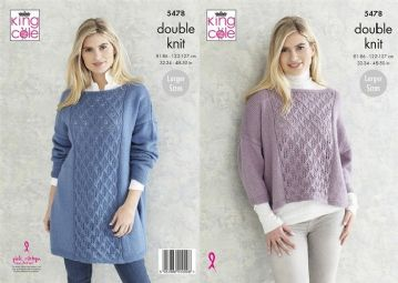 King Cole Ladies Sweaters DK Knitting Pattern , 5478, 32- 50 inch